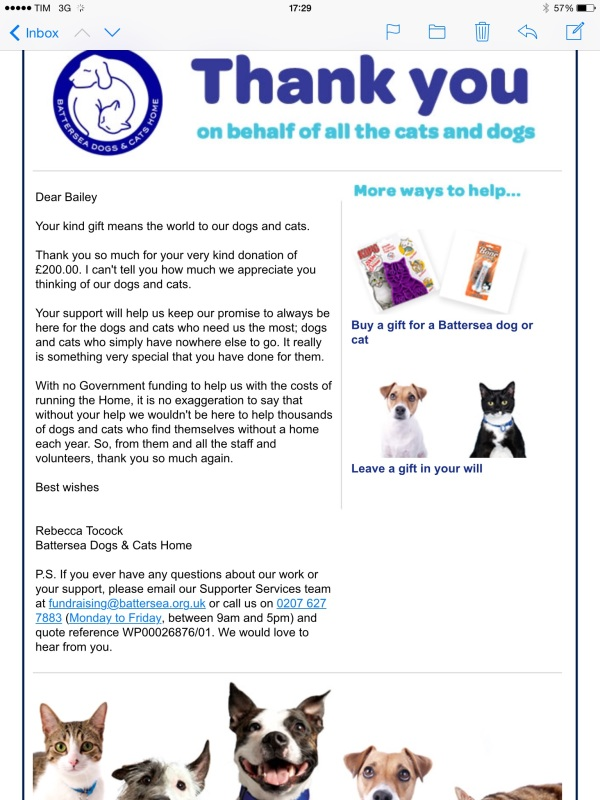 Battersea donation