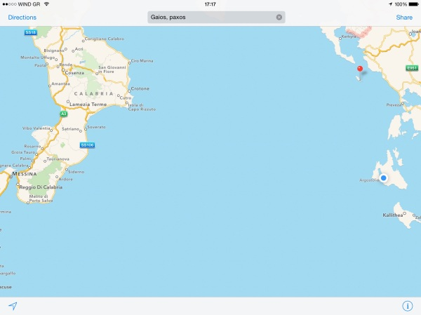 After coming through the Messina Straights we were heading for the red pin and ended up at the blue dot!
