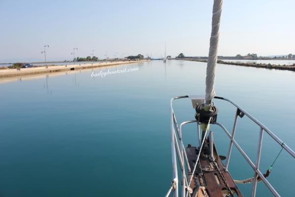 heading towards the bridge to leave Lefkas