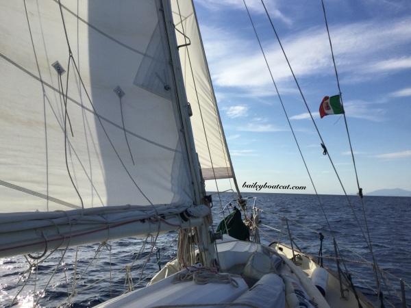 Sailing past Capri