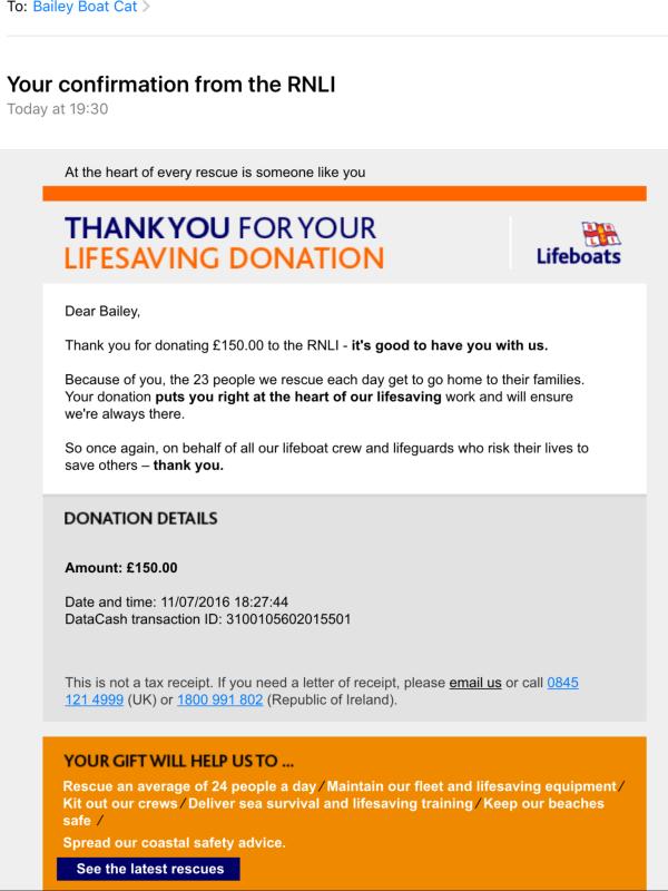 RNLI donation