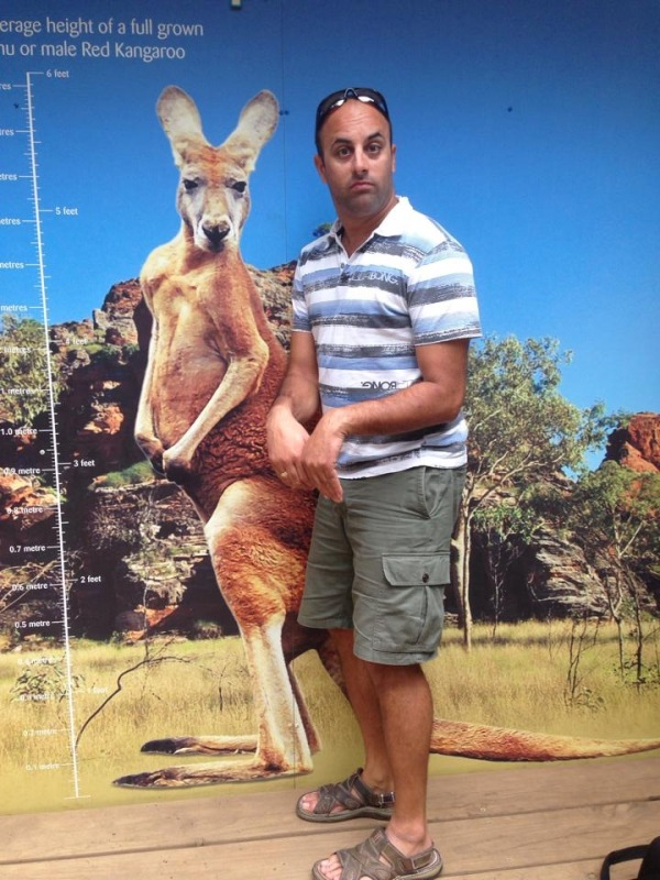 Dad and a kangaroo